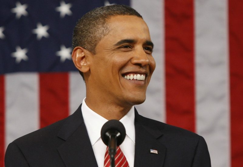 dentatura bianca di Obama